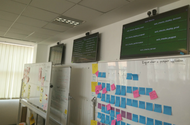 Screens showing live status of digital services