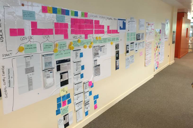 Picture of the product planning wall for the Global Entry team. It features postit notes, whiteboards, coloured cards detailing user journeys and printouts of page designs.