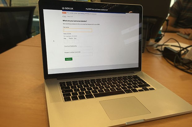 Laptop with an online form displayed
