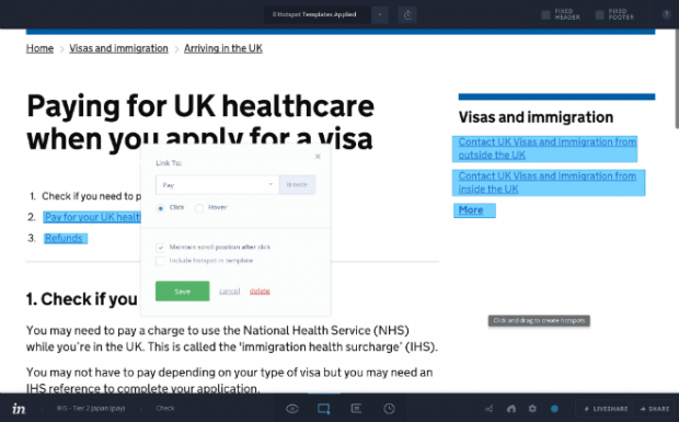 Demonstration of the Invision tool being used to edit a GOV.UK page