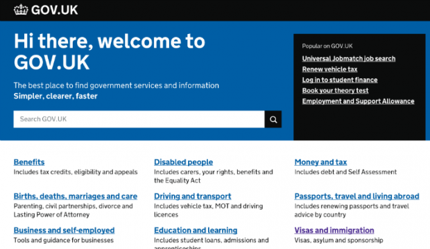 "An edited GOV.UK home page to display the message ""Hi there, welcome to GOV.UK"""