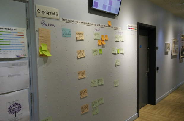 Home Office Digital's organisational sprint wall
