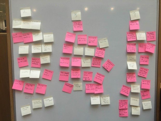 A board full of Post It Notes