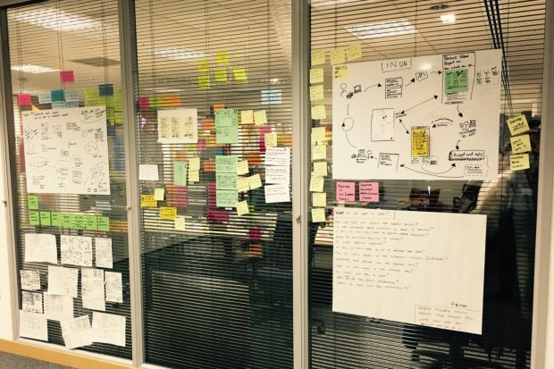 Wall displaying post its and ketches