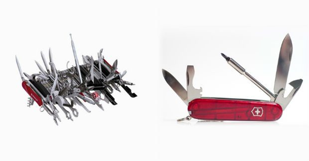 An image of 2 Swiss Army Knives. The first is complicated with many tools, the second is much simpler with just a few