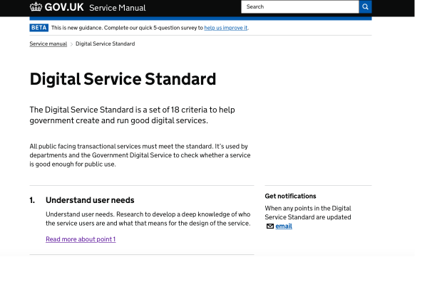 A screenshot of the Digital Service Standard homepage