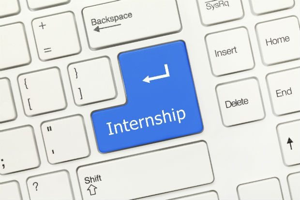 An image of a keyboard, with the word Internship written on the return key
