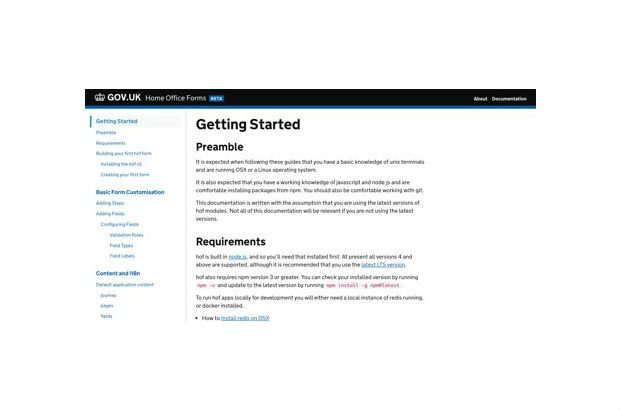 A screenshot of the 'Getting started' page on the Home Office Forms guide