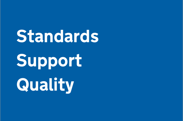 A graphic that reads 'Standards, support and quality', which is the aim of design ops
