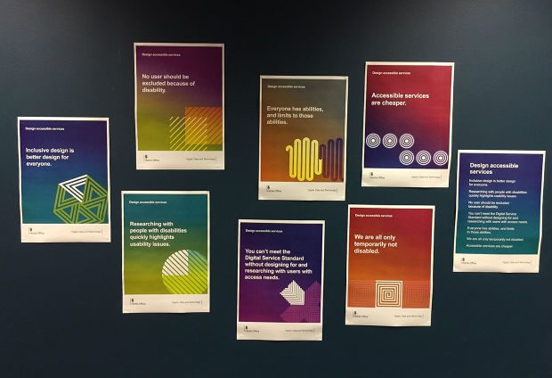 An image of all the 'Design accessible services' posters