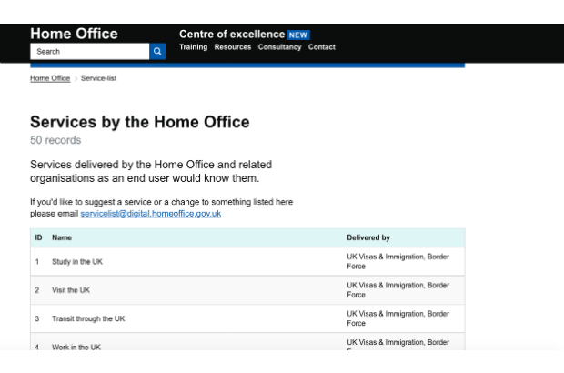 A screen shot of the Home Office list of services. You can find the list at https://ukhomeoffice.github.io/coe/service-listhttps://ukhomeoffice.github.io/coe/service-list/