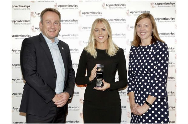 Home Office Digital Internship and Junior Development Programme lead Hannah Turner poses with her Rising Star award.