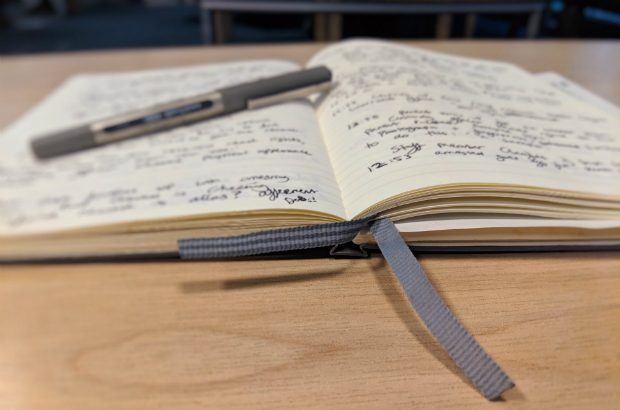 Notebook with research notes