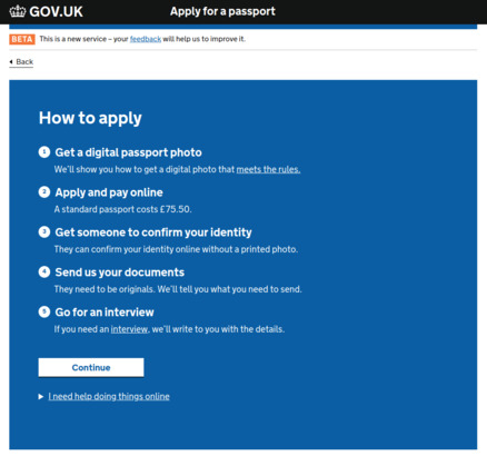 Screenshot of how to apply for a passport page