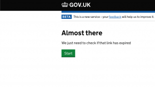 Image of a screenshot of a government web page showing a message stating 'Almost there' with a green 'Start' button.