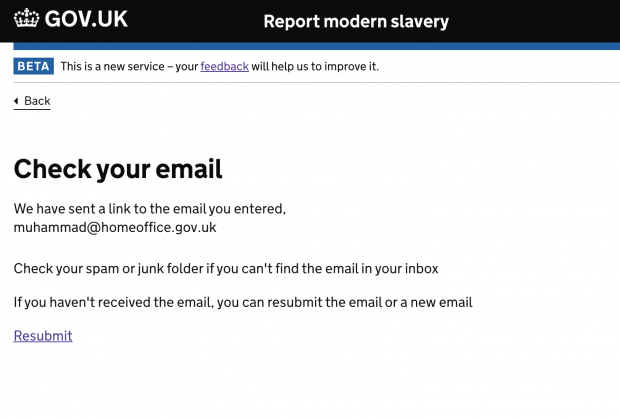 Image of a screenshot of a government web page showing a message stating 'Check your email'.