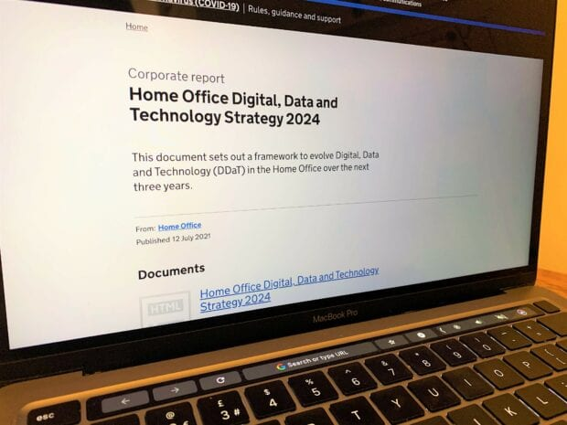 An image of the Home Office DDaT Strategy on a laptop